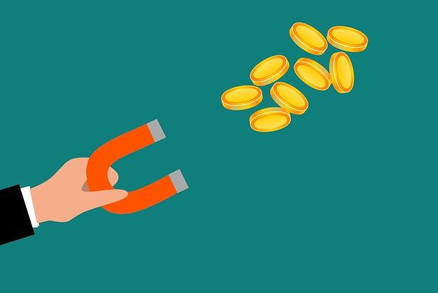 magnet přitahující peníze