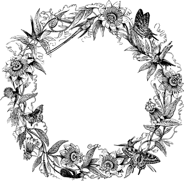 černobílý obrázek věnce